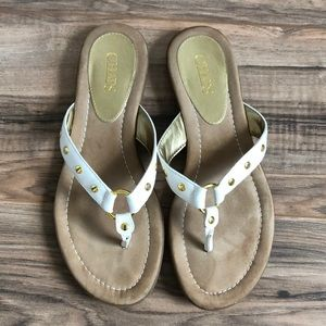Chaps White & Gold Thong Sandals